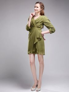 V-neck Mini-length Chiffon Mother of Bride Dresses Olive Green