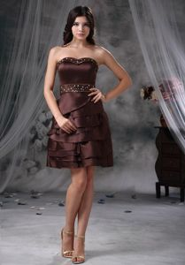 Beaded Sweetheart Mini-length Brown Mother of the Bride Dresses for Wholesale