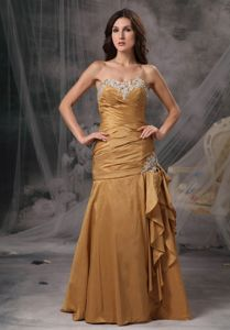 New Arrival Mermaid Sweetheart Gold Mother of the Bride Dresses with Beading