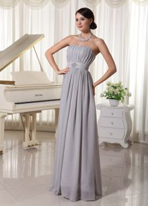 Hot Sale Ruched Strapless Empire Chiffon Mother of the Bride Dresses in Grey