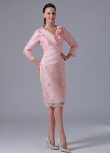 Baby Pink Knee-length Long Sleeves Mother of the Bride Dresses with Flowers