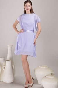 New Arrival Bateau Mini-length Lilac Mother Bride Dresses with Sash