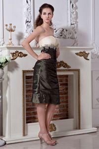 Olive Green Strapless Knee-length Mother Bride Dress with Flowers