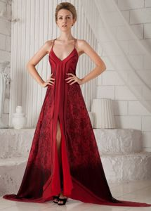 Red A-line Brush Train Printing Mother of the Bride Dresses with Spaghetti Straps