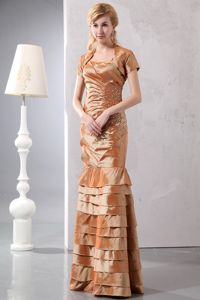 Beaded Brown Floor-length Mother of the Bride Dresses with Spaghetti Straps
