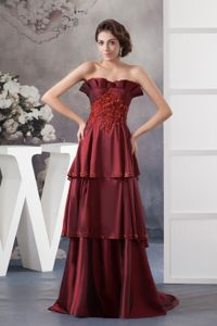Cheap Wine Red Sweetheart Layered Brush Train Mother of the Bride Dresses