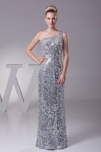 New One Shoulder Floor-length Mother of the Bride Dresses in Silver Sequin