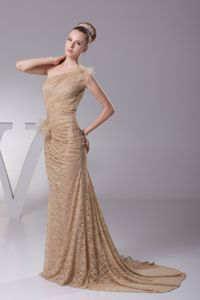 One Shoulder Brush Train Champagne Mother of the Bride Dresses with Flowers