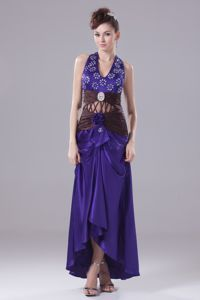 Beaded Halter High-low Purple Mother Bride Dress with Cutouts