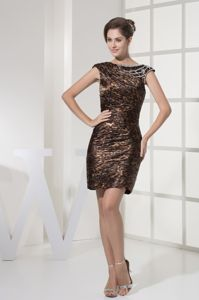 New Beaded Cap Sleeves Mini-length Leopard Mother Bride Dress