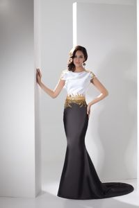 White and Black Cap Sleeves Mother of the Bride Dresses with Gold Beadings