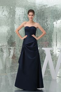 Ruched Navy Blue Sweetheart Strapless Floor-length Mother of the Bride Dress