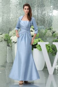 Light Blue Ruched Strapless Ankle-length Taffeta Mother of the Bride Dresses