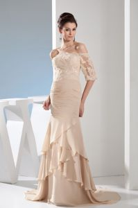 Champagne Off the Shoulder Lace Mermaid Chiffon Mother of the Bride Dresses