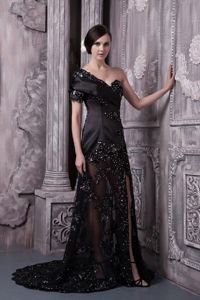 Black Beaded One Shoulder Short Sleeves Lace Mother Bride Dress