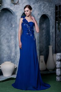 Blue One Shoulder Chiffon Mother of the Bride Dress with Hand Made Flower