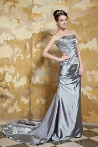 Grey Beaded Strapless Court Train Silk Like Satin Mother Dresses