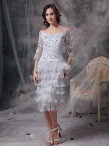 Grey Beaded Off The Shoulder Tea-length Organza Mother Dresses