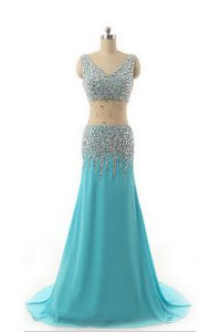 Aqua Blue Formal Evening Gowns Prom and Party and For with Beading V-neck Sleeveless Zipper