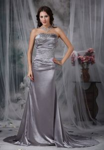 Fashion Strapless Ruche Beading Mother of Bride Dress Court Train