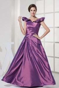 Puffy Purple V-neck Dresses for Bride Mother with Zipper up Back