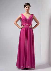Custom Made V-neck Ruches Beading Mother Bride Dress in Chiffon