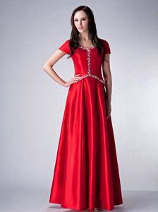 Red Scoop Short Sleeves Mother of Bride Dresses with Rhinestones