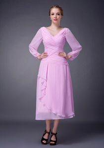 Pink V-neck Long Sleeves Ruche Bride Mothers Dress with Tea-length
