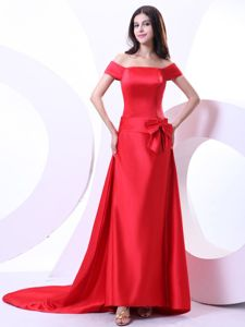 Red off the Shoulder Court Train Mother of Bride Dresses with Bow
