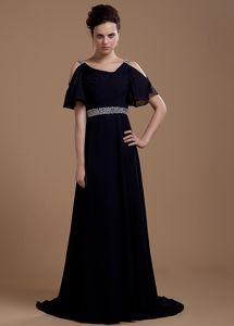 Brush Train Beading Open Sleeves Mother of Bride Dresses in Black