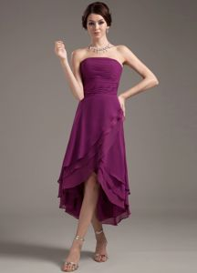 High-low Strapless Ruched Mother of the Groom Dresses New Arrival