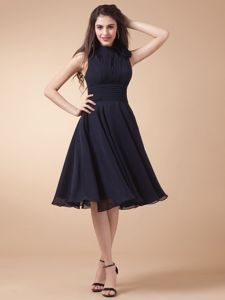 Black High Neck Mother of the Bride Dress with Peekaboo Keyhole