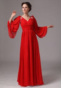 New Red V-neck Beaded Dresses for Bride Mother with Long Sleeves