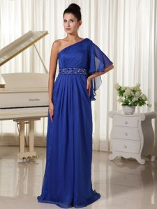 Royal Blue Single Shoulder Mother of the Bride Outfits with Beading