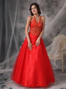 Puffy Red Halter Sequin Appliques Mother Bride Dresses in Fashion