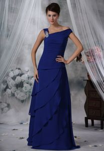 Beaded Asymmetrical Neck Mother of the Bride Dresses with Layers