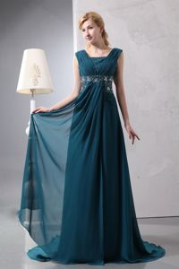 Dark Green Square Neck Ruche Beading Mothers Dresses Court Train