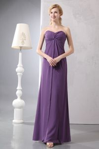 Purple Zipper-up Sweetheart Dresses for Bride Mother with Ruches