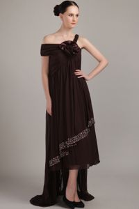 Asymmetrical Neckline High-low Beading Mothers Dresses in Brown