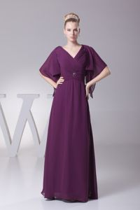 Surplice Neck Floor-length Mother of the Bride Dress in Purple