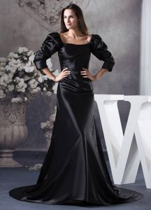 Court Train Black Mother of Bride Dress with Long Puffy Sleeves