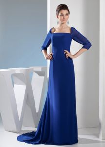 Brush Train Half Sleeves Square Royal Blue Mother Bride Dress