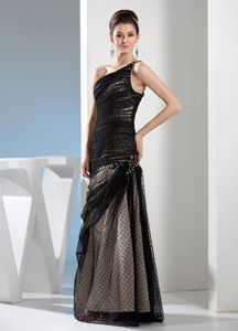 Special Tulle One Shoulder Black Mother of The Groom Dresses