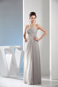 New Chiffon Empire Ruched Mother of the Bride Dress in Gray