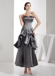 Ankle-length Slot Neck Gray Mother Bride Dress with Pick-ups