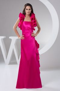 Hot Pink Long Mother of the Bride Outfits with Ruffled Halter