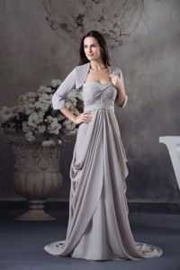 Best Brush Train Draped Beaded Mother of Bride Dresses in Gray