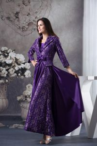 New Strapless Ankle-length Purple Mothers Dresses with Patterns