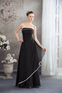 Spaghetti Straps Black Long Mothers Dress for Autumn Wedding