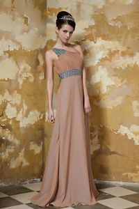 Brush Train One Shoulder Brown Mothers Dress with Rhinestones